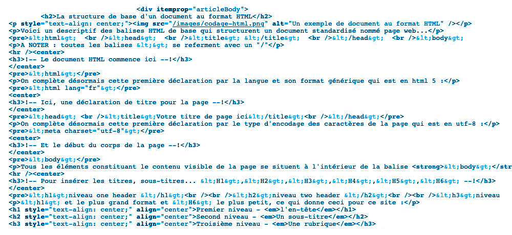 Un exemple de document au format HTML
